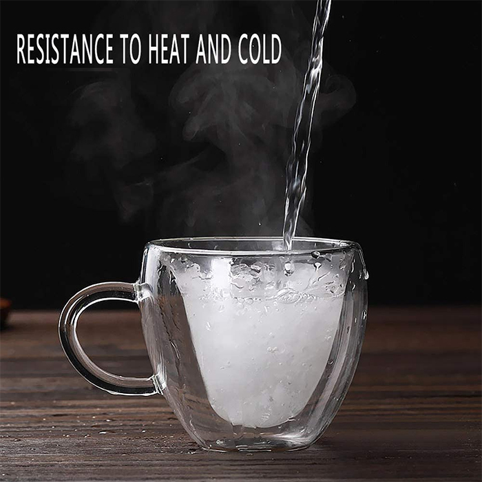 double-walled glass resistance to heat and cold