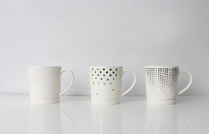 drip catching coffee mug with and without design