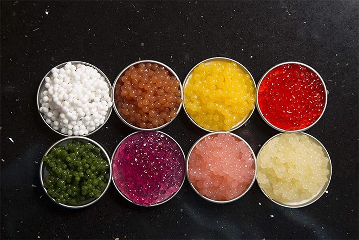 edible caviar-shaped spheres