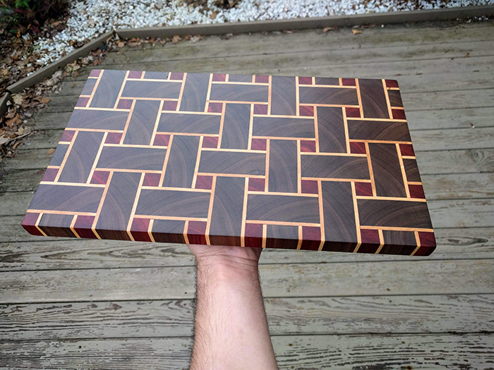 end grain cutting board made of 157 pieces of wood