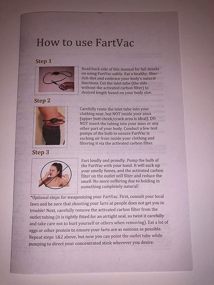 fartvac instruction manual front