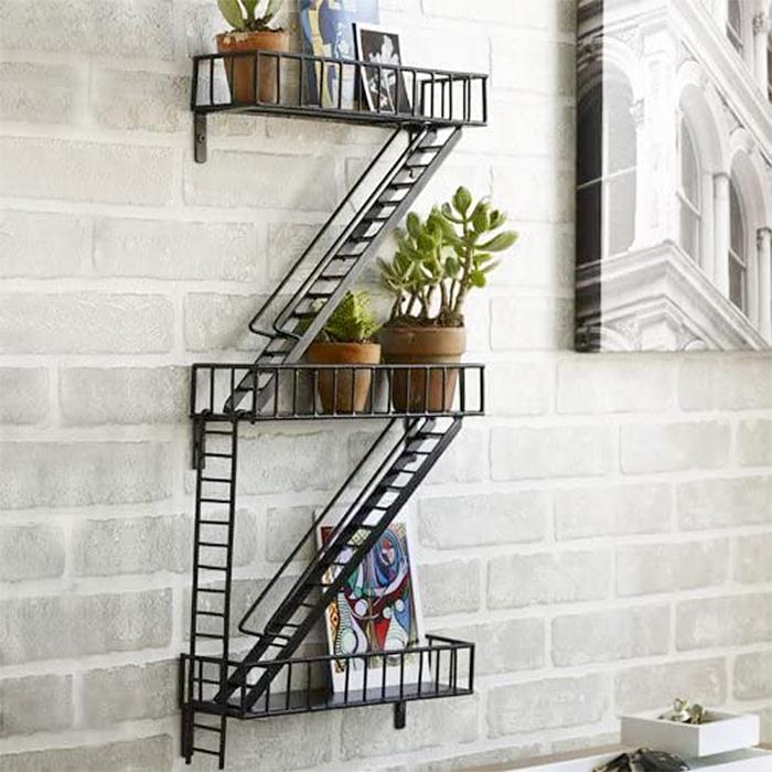 fire escape shelf zigzag ladder