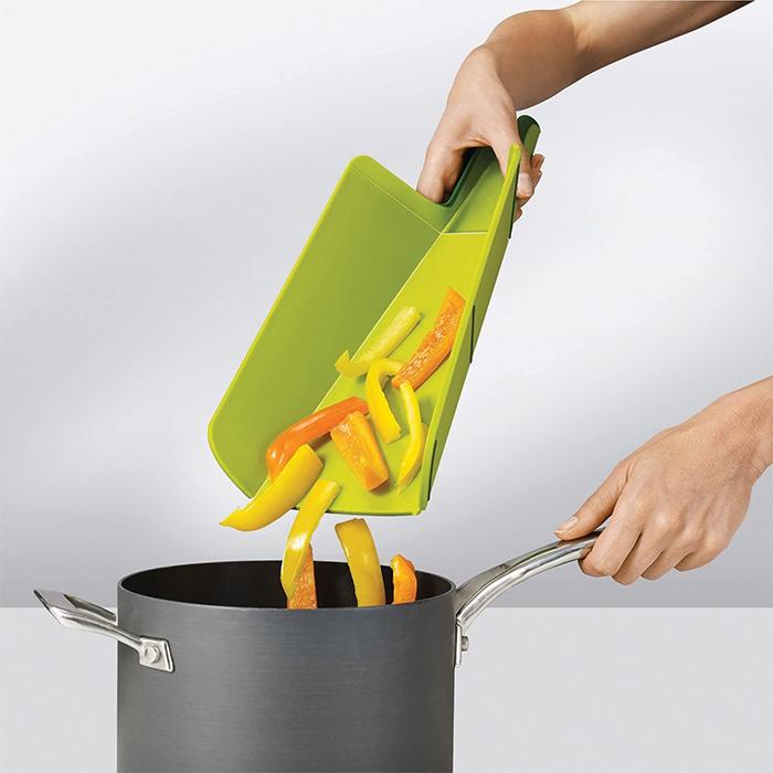 foldable cutting board chute