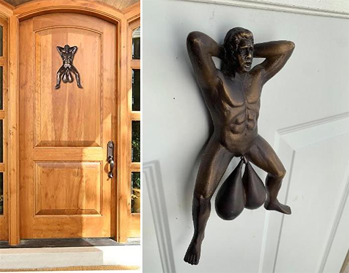 funny front door decor naughty design
