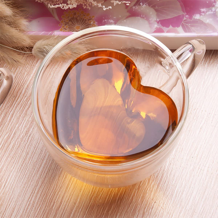 heart shaped cup clear glass