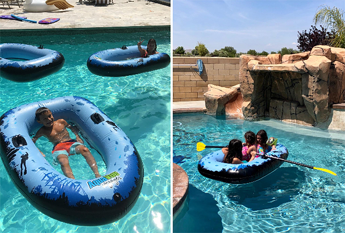 inflatable clear bottom raft pool