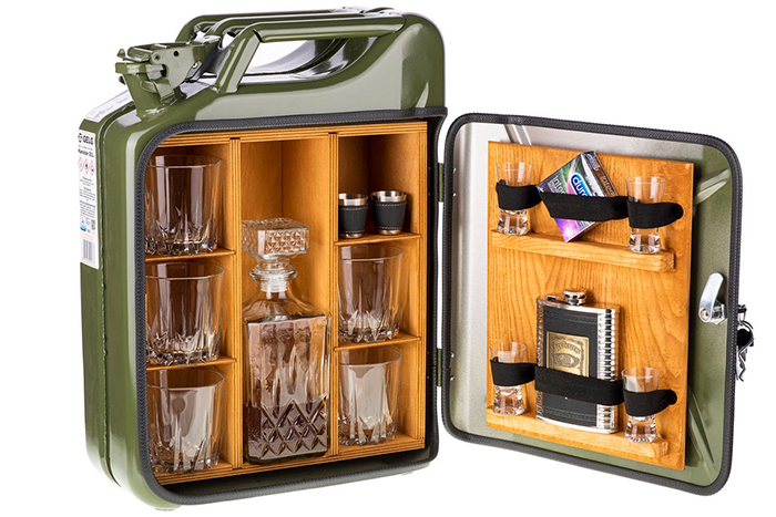 jerry can mini bar interior shelves