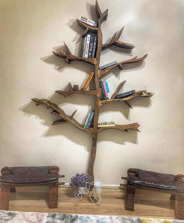 live edge pine tree bookcase