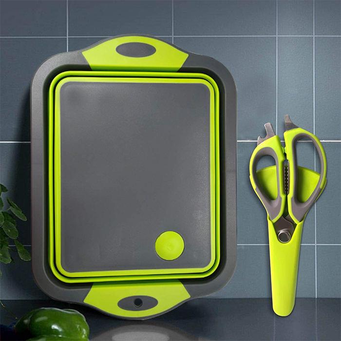 multi-purpose chopping board with scissors