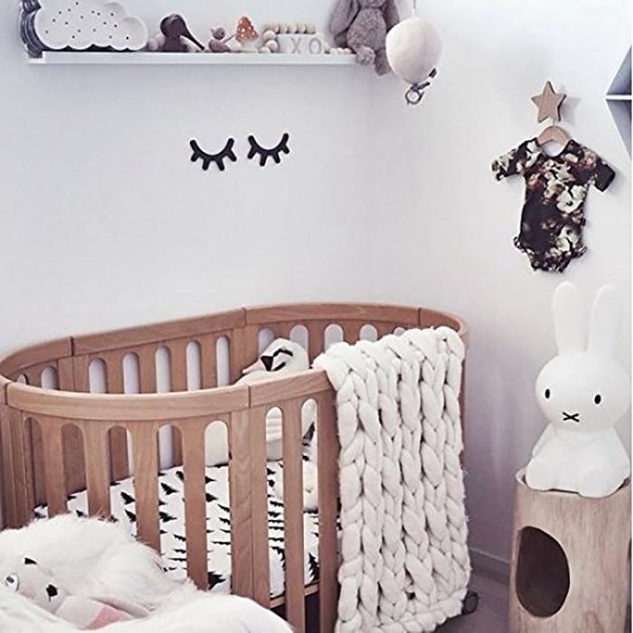 multipurpose baby cradle made of beechwood in natural