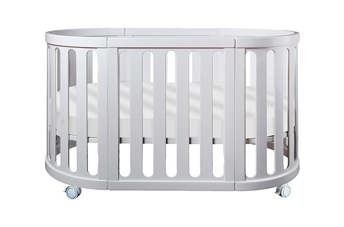 multipurpose baby cradle made of beechwood in white