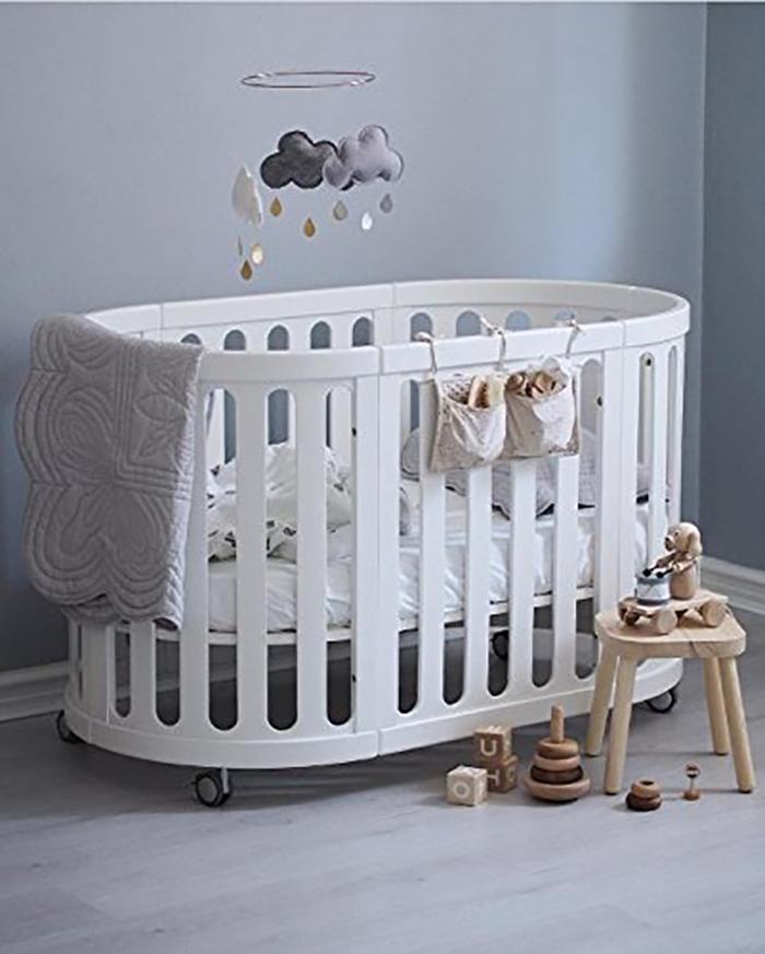 multipurpose beechwood baby cradle in white