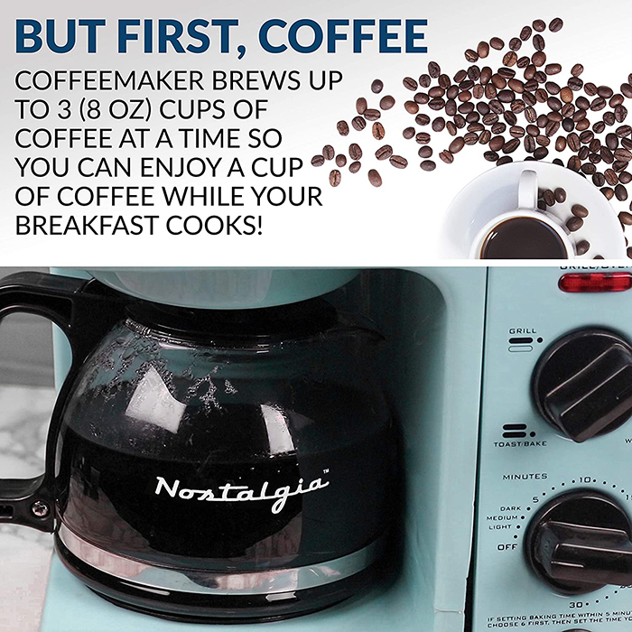 nostalgia 3-in-1 breakfast station integrated coffee maker