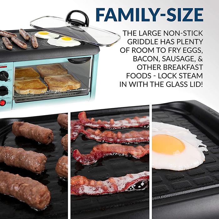 nostalgia 3-in-1 breakfast station integrated nonstick griddle