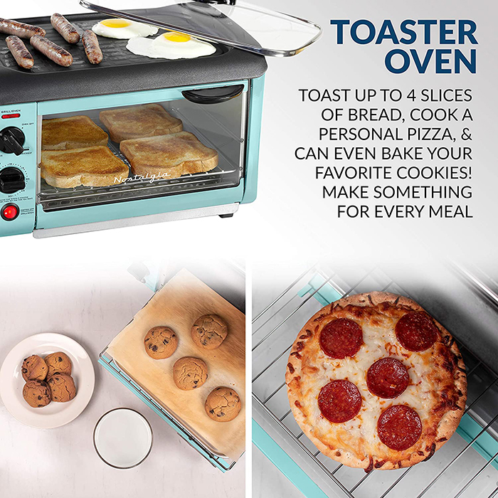 nostalgia 3-in-1 breakfast station integrated toaster oven