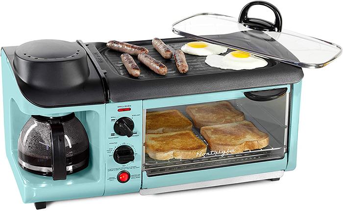 nostalgia retro style multifunctional appliance in aqua