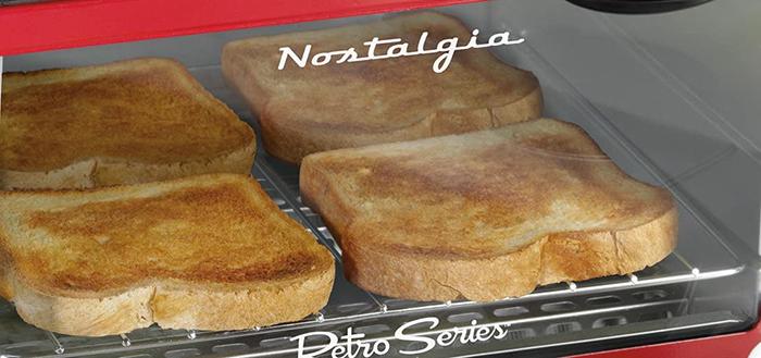 nostalgia retro style multifunctional appliance integrated toaster oven