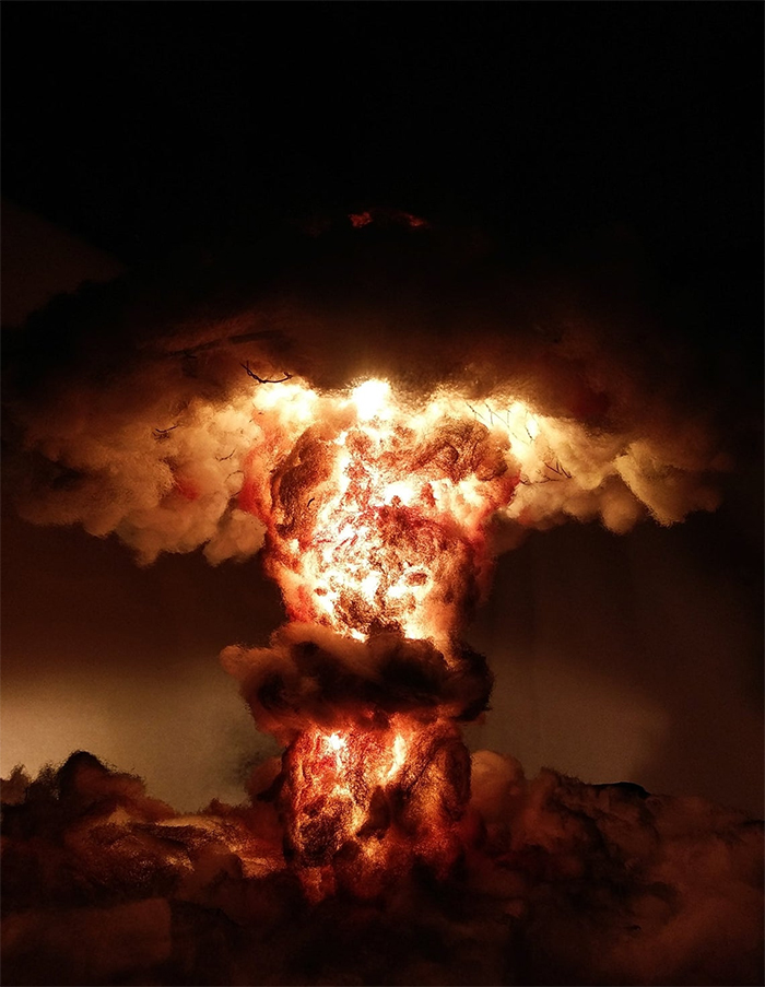 nuclear bomb explosion lamp diorama