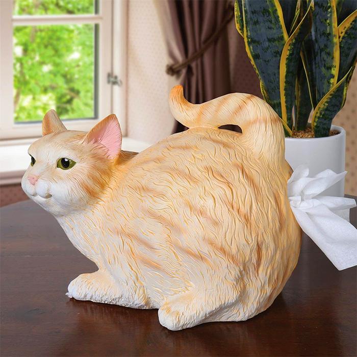 orange tabby cat butt tissue holder