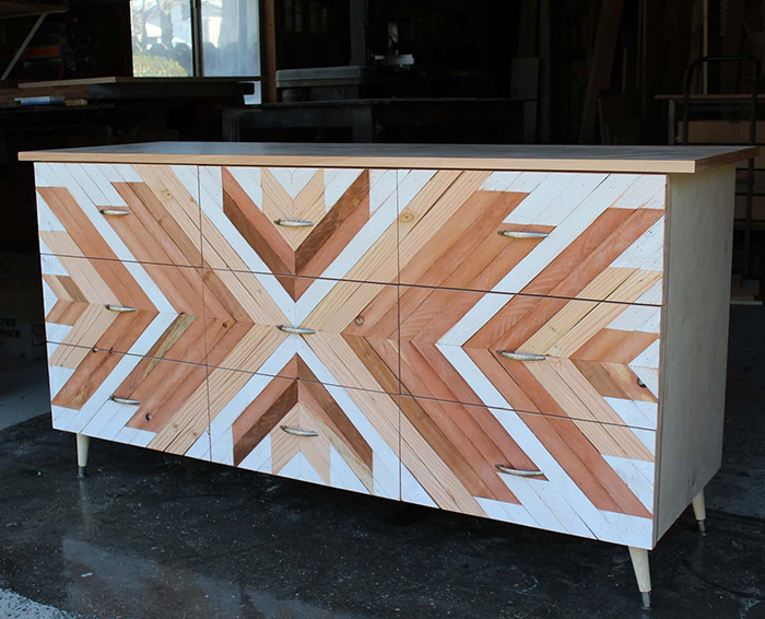 patterned wooden dresser