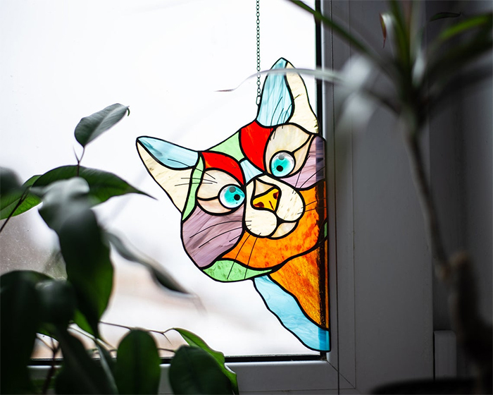 peeking kitty corner window hanging decor