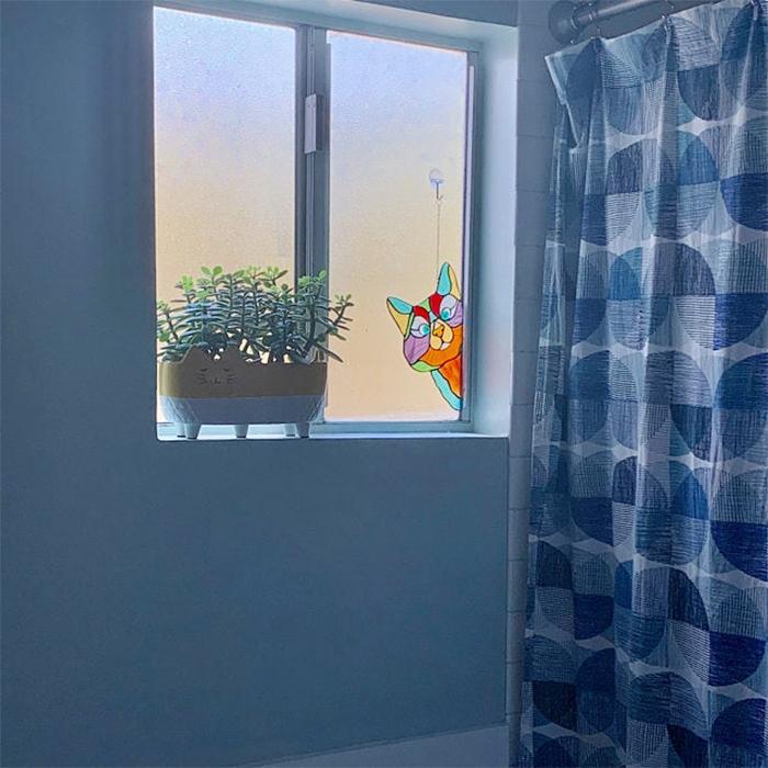 peeking kitty window decor