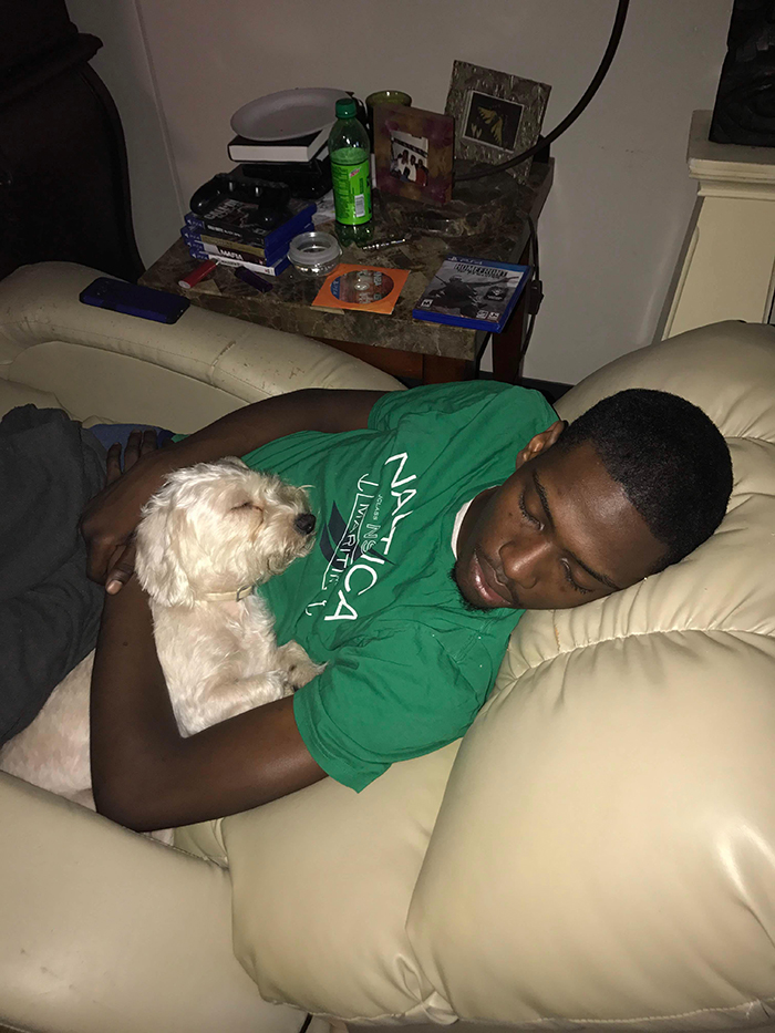 pets stealing owners' partners boyfriend sleeping while hugging dog