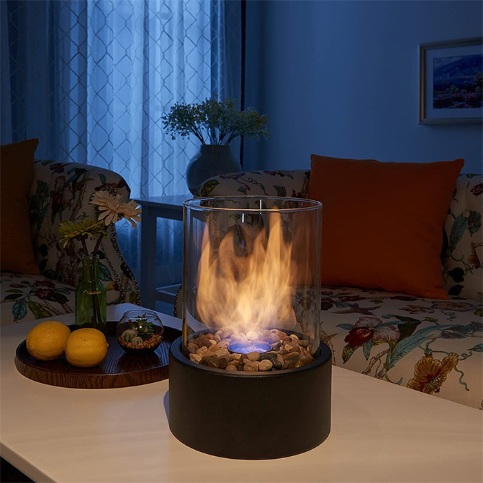 portable tabletop glass fireplace