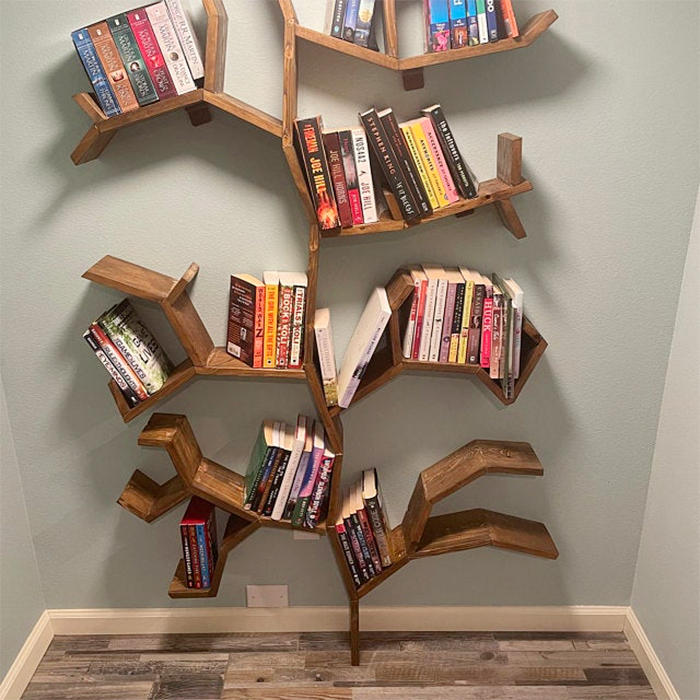 reclaimed pine tree bookshelves