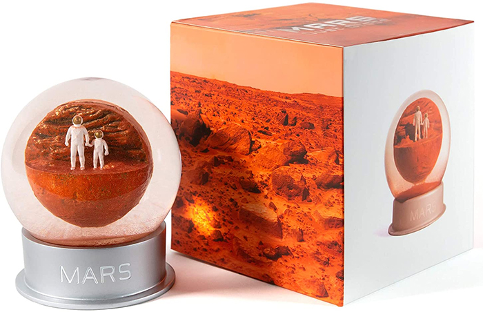 red planet glass dome desk decor