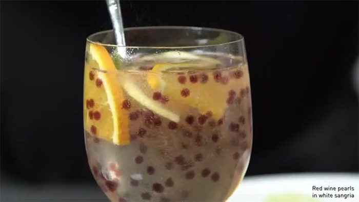 red wine pearls in white sangria