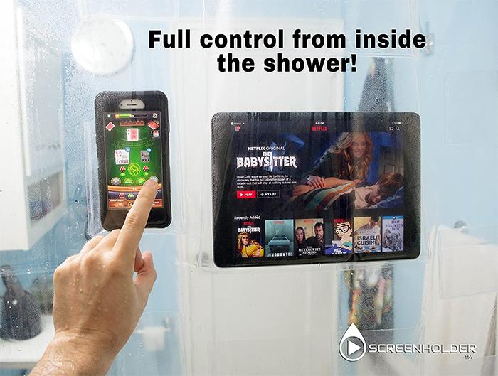 screen holder shower curtain clear
