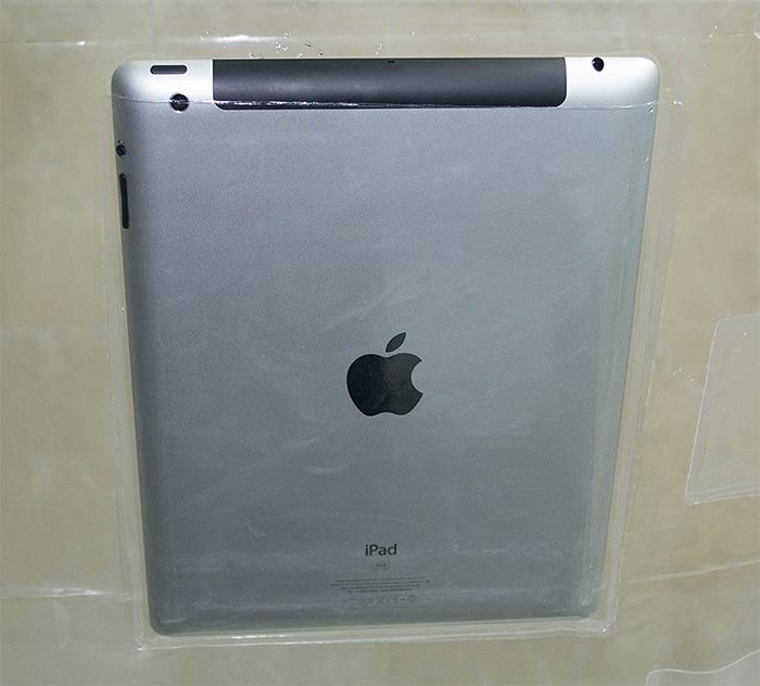 screen holder shower curtain tablet pocket