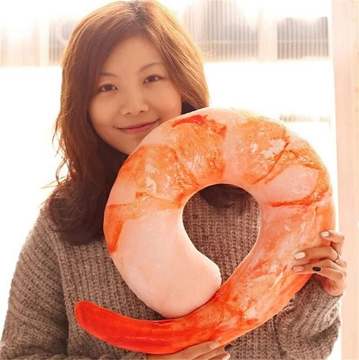 shrimp neck pillow lifelike