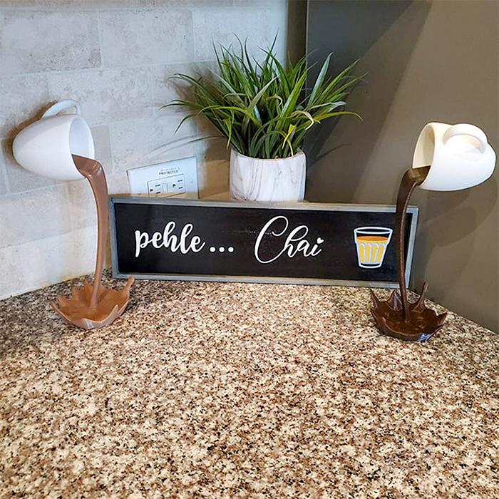 spilling coffee mug decors