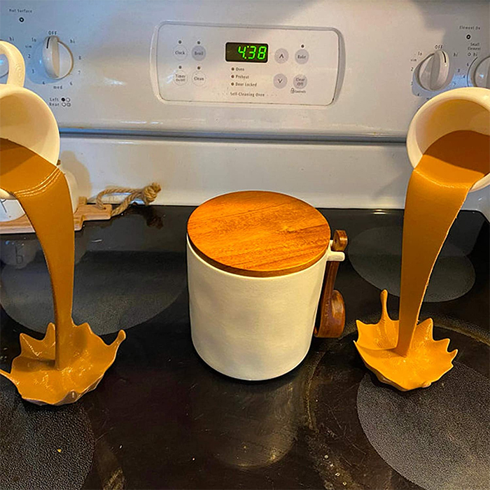spilling coffee mugs decor