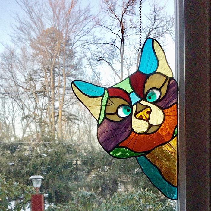 stained glass cat suncatcher window decor