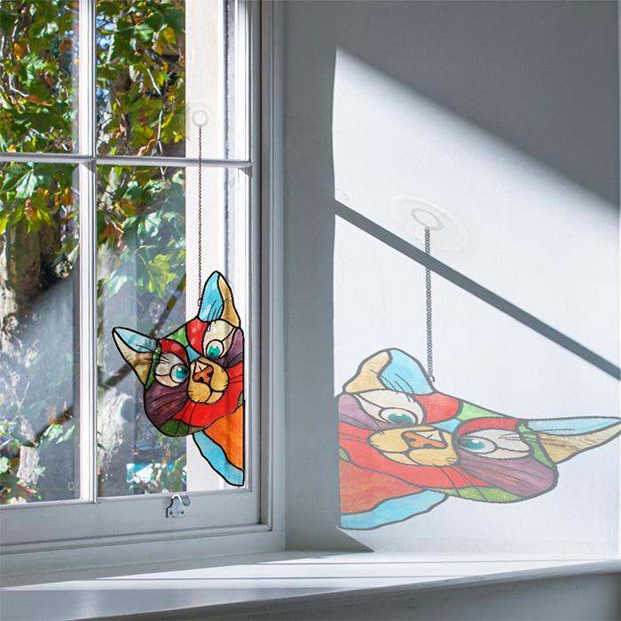 stained glass cat suncatcher window