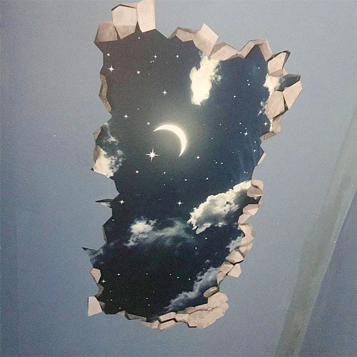 stars moon night wall sticker