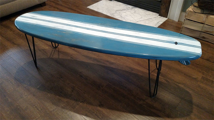surfboard coffee table metal stands