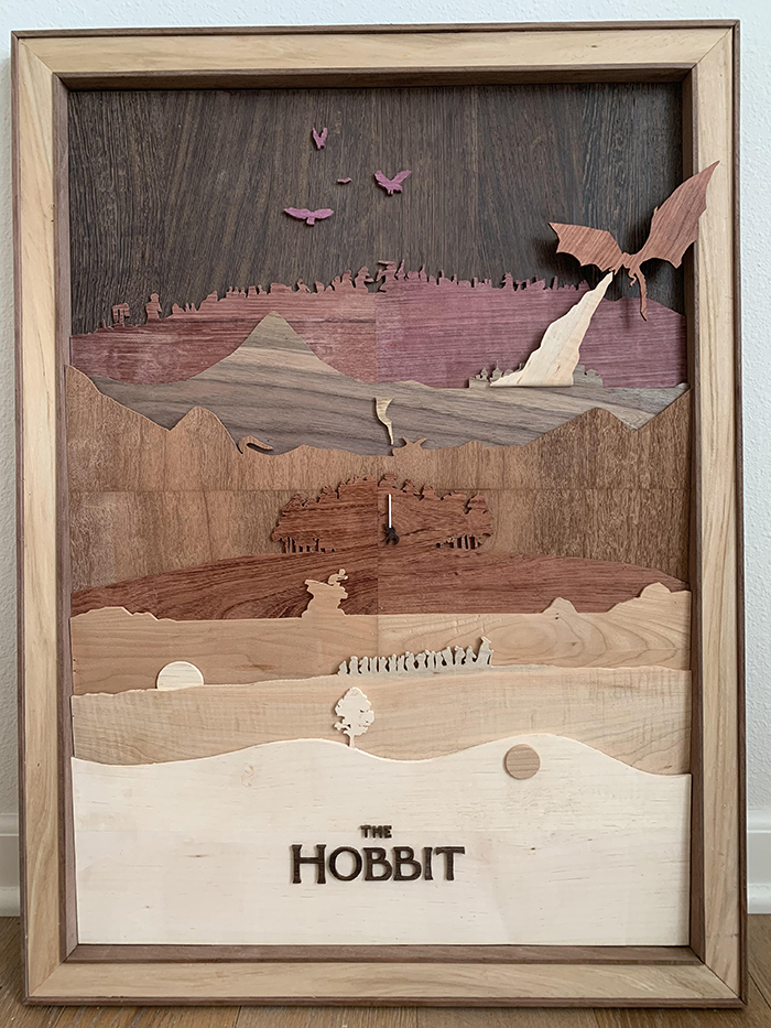 the hobbit wooden movie poster