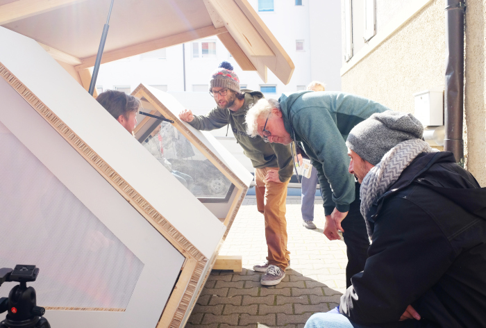 the team inspects the Ulm Nest sleeping pods