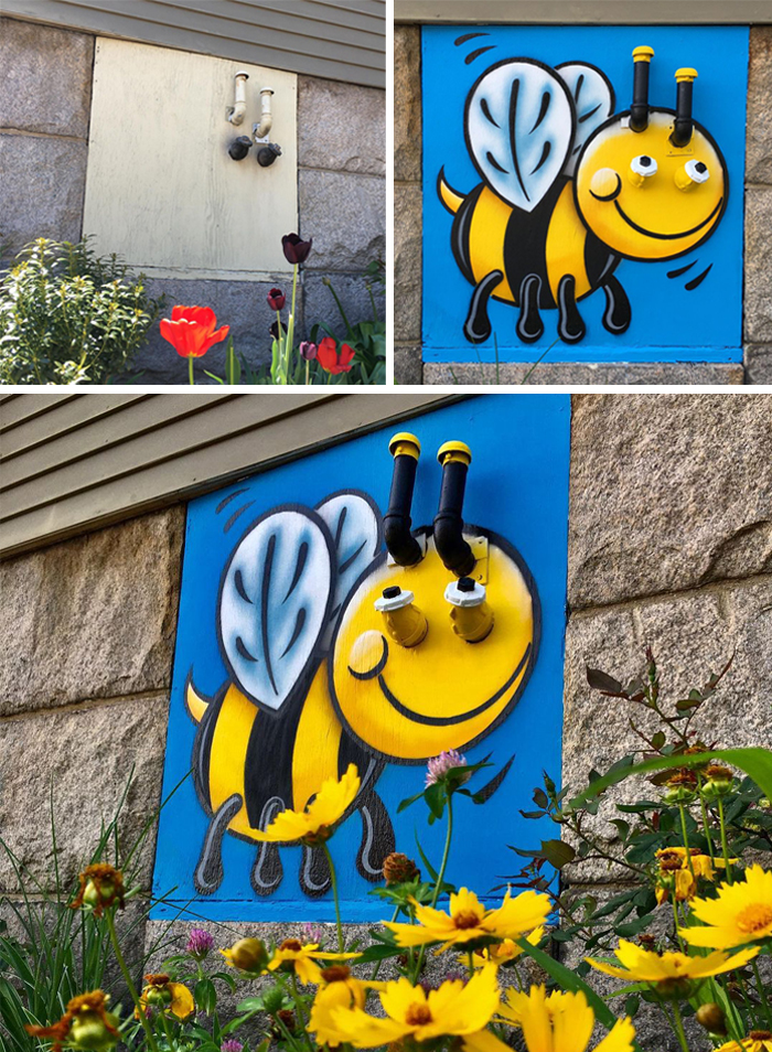tom bob clever street art bee kind