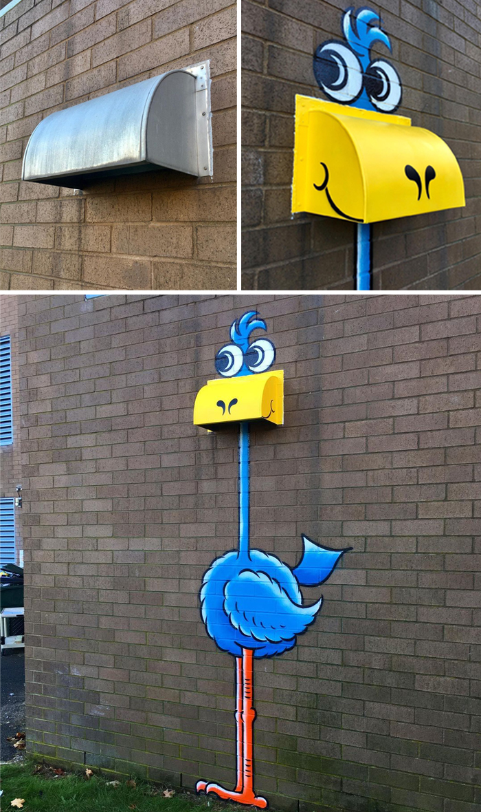 tom bob clever street art blue bird of happiness