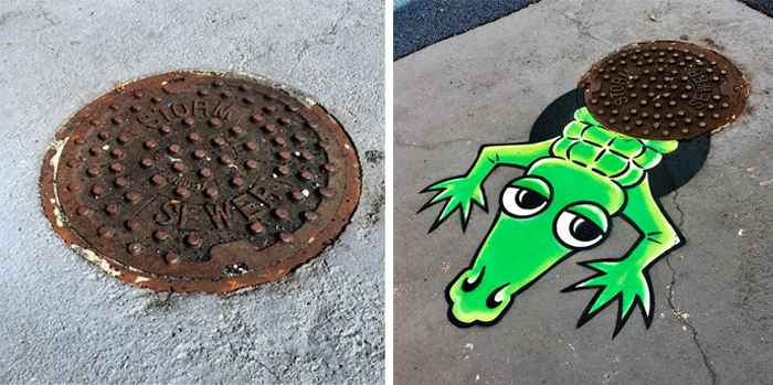 tom bob clever street art gator sighting
