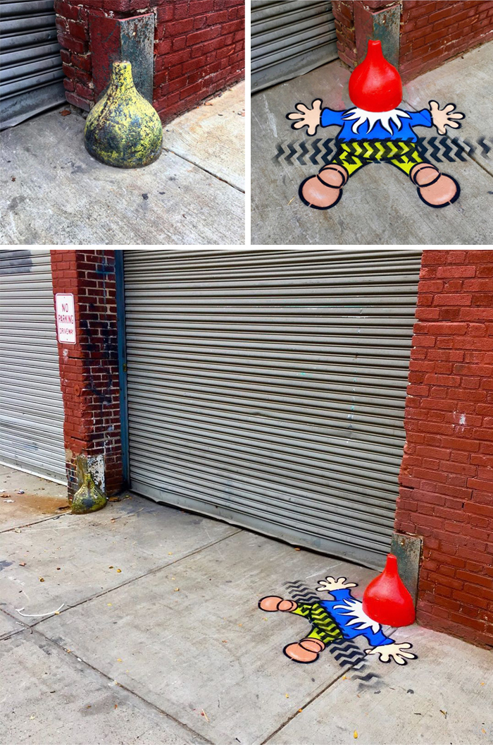 tom bob clever street art gnome down