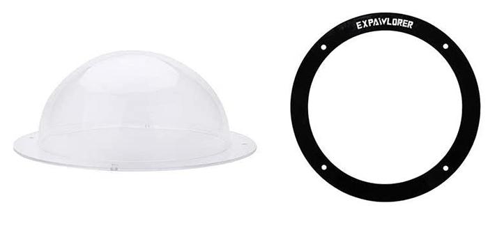 transparent acrylic dome with black rim