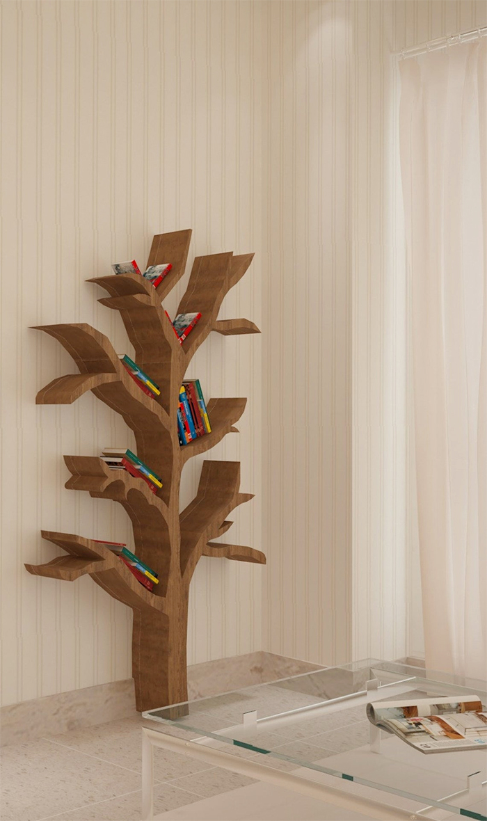 tree bookshelves wall art