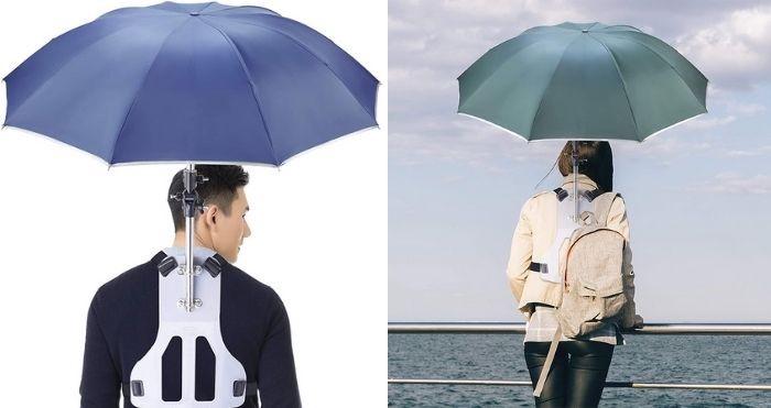 wearable hands-free umbrella