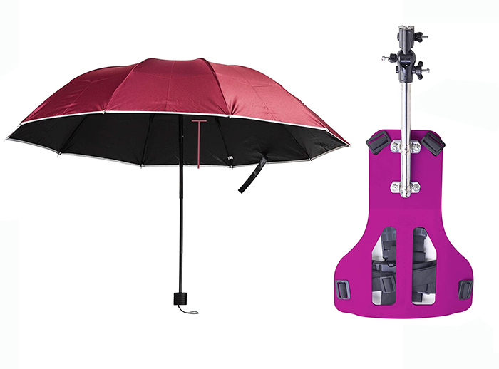 wearable hands-free umbrella back plate red